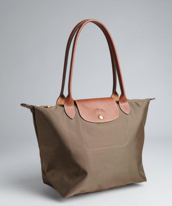 Longchamp Taupe Nylon Le Pliage Small Shopper Tote in ...