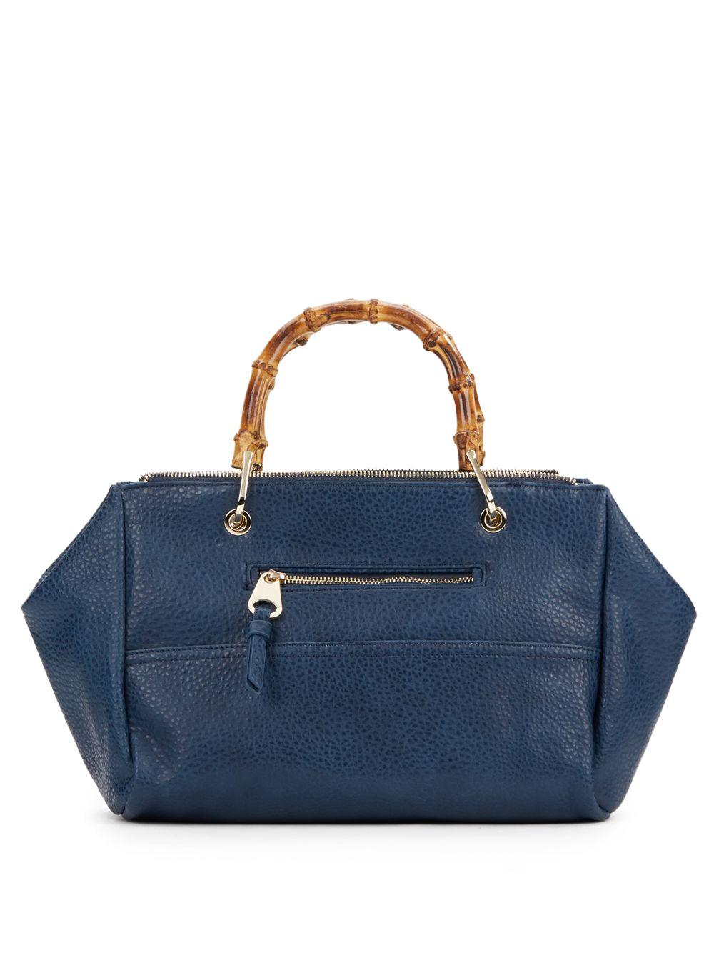 5f91c8c78a4c Lyst - Sondra Roberts Bamboo Handle Faux Leather Handbag in Blue