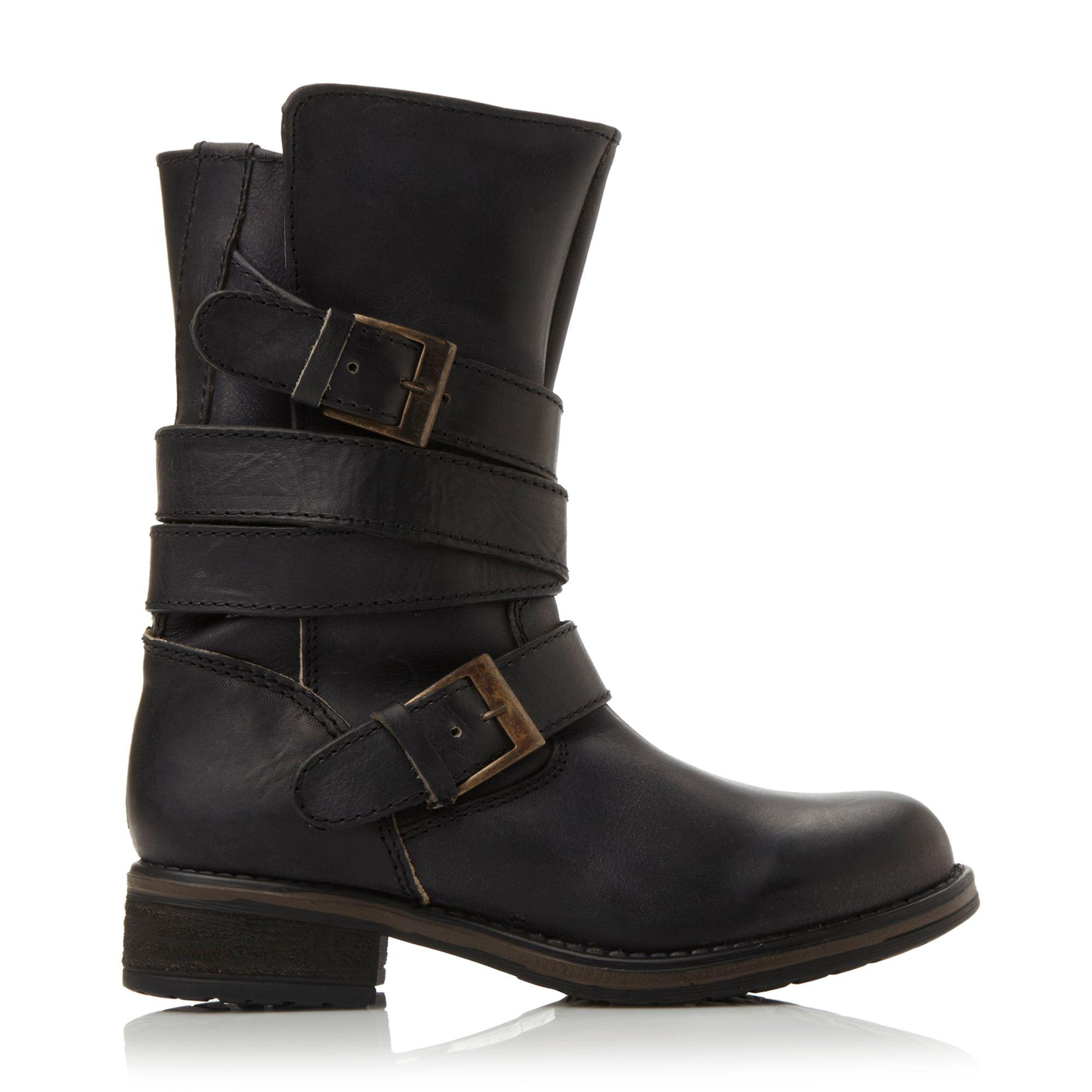 steve madden kindell strap detail calf boots in black lyst. Black Bedroom Furniture Sets. Home Design Ideas