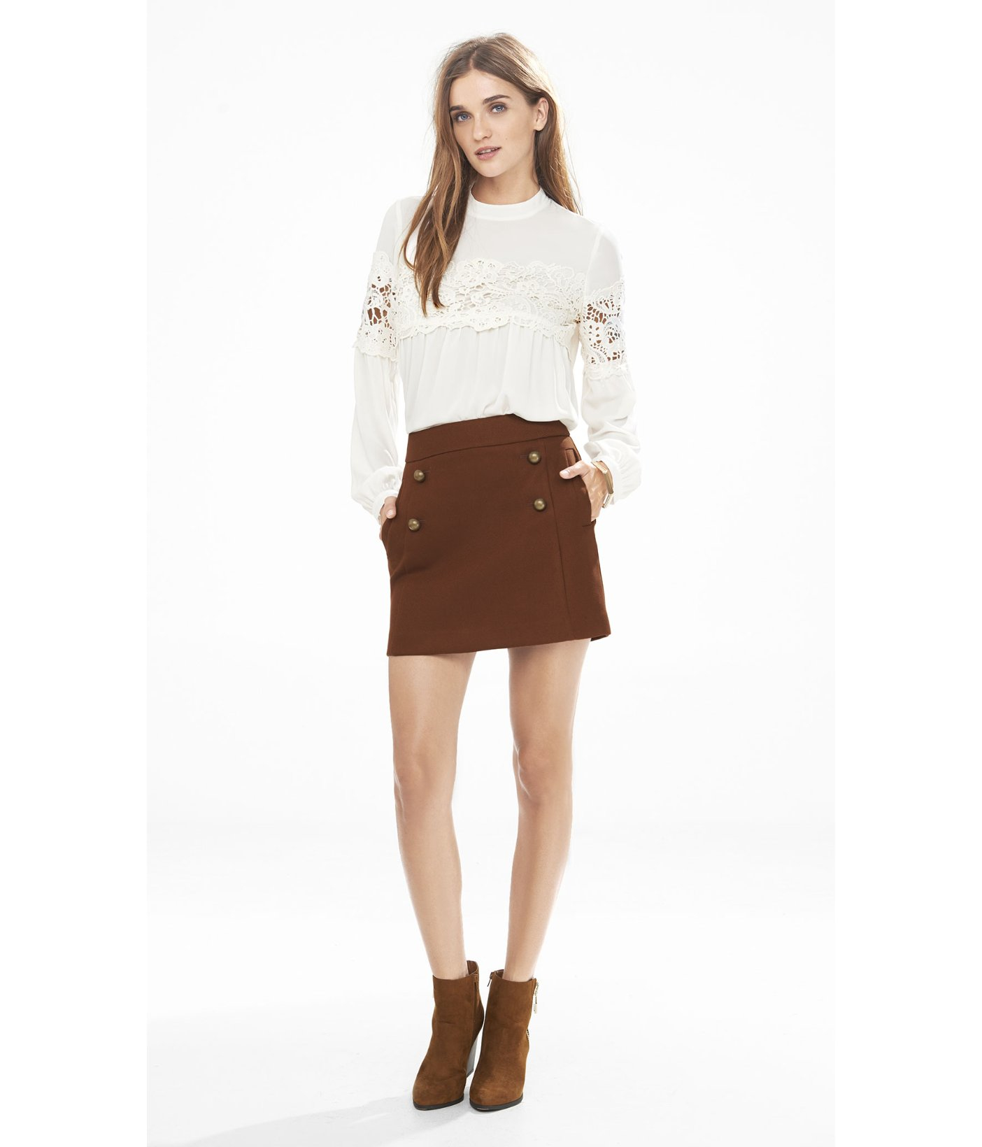 Express High Waisted A-line Sailor Mini Skirt in Brown | Lyst