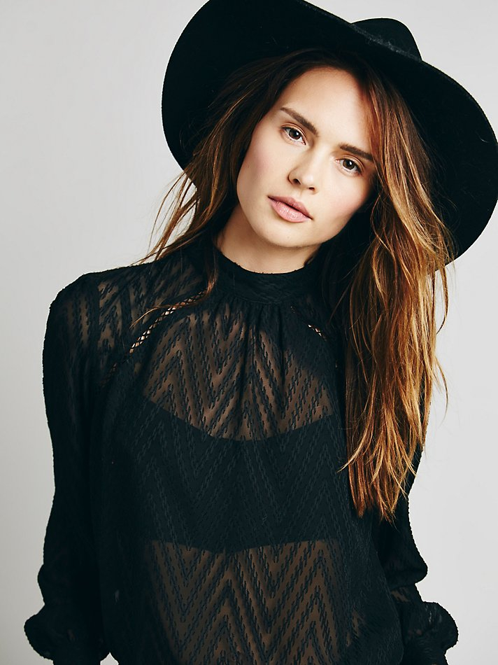 2cd43a6d73aa7 Lyst - Free People Womens Tucking Chevron Blouse in Black