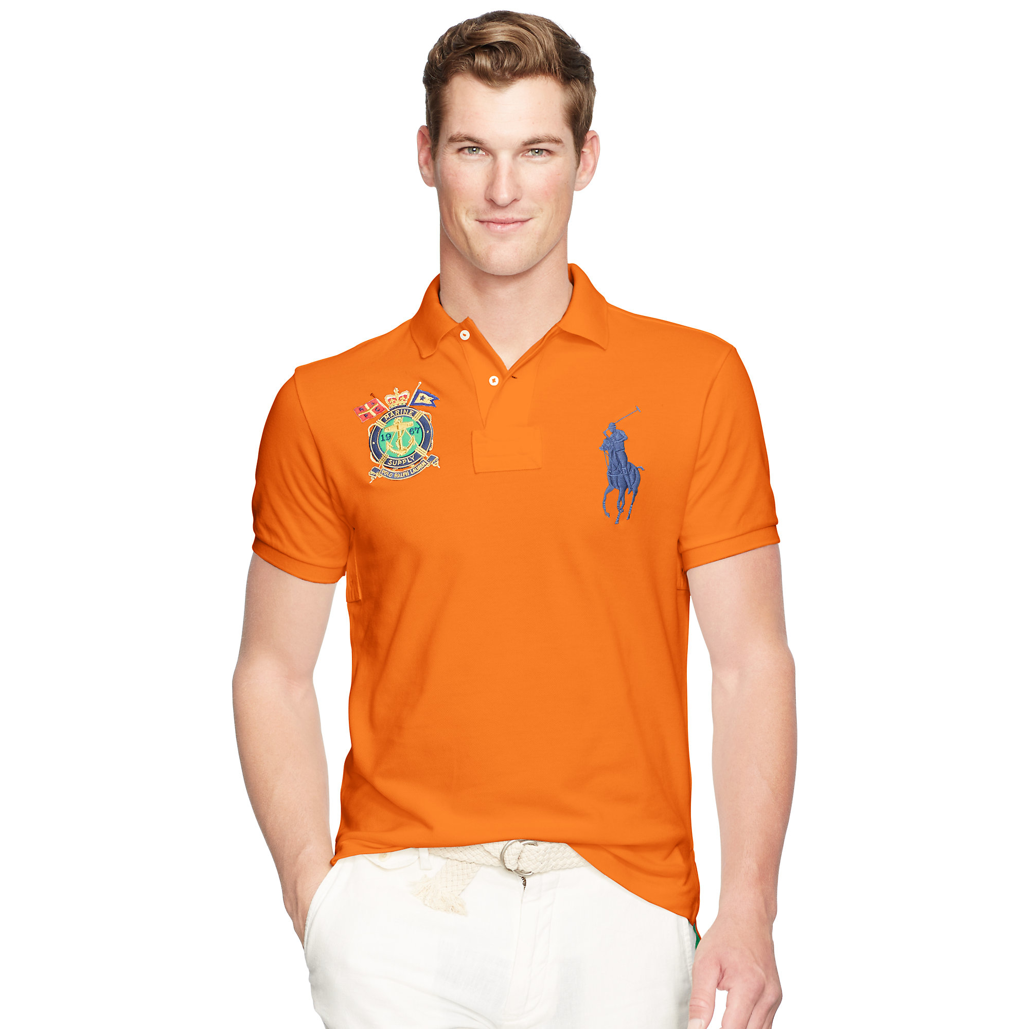 c98994bd4 ... discount lyst polo ralph lauren slim fit big pony polo shirt in orange  for men 3c014