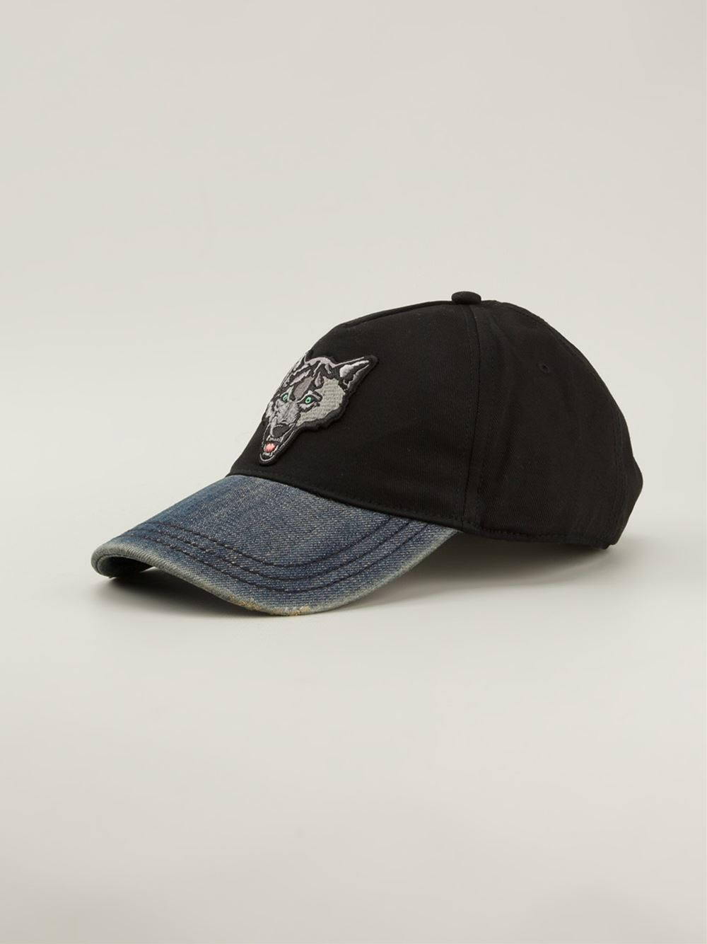 Lyst Diesel Embroidered Wolf Baseball Cap In Black For Men