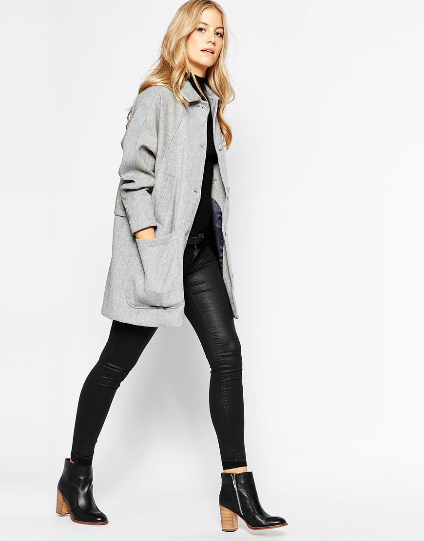 Parka london Oversized Wool Coat in Gray | Lyst