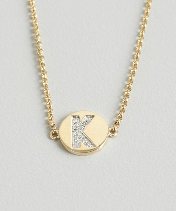 Lyst kc designs gold and diamond k initial pendant bracelet in gallery mozeypictures Images