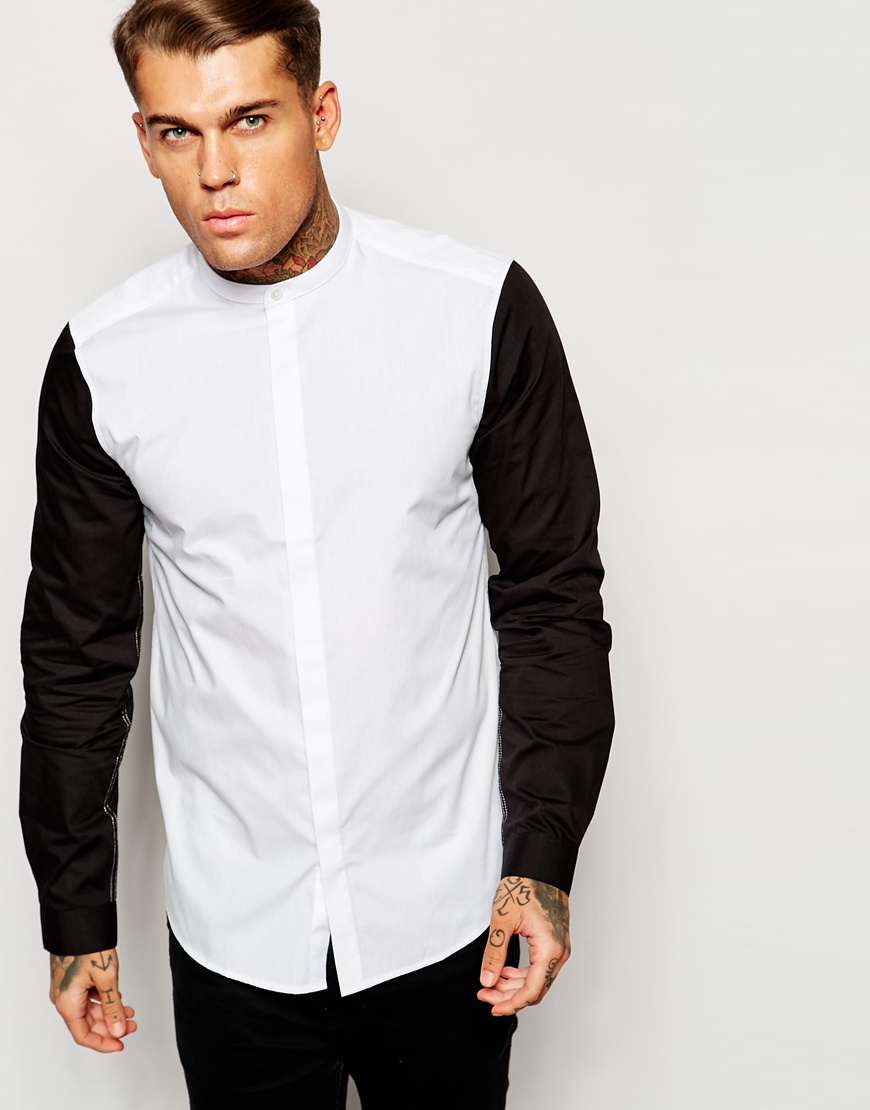 Asos Shirt With Contrast Sleeves And Grandad Collar in Black for ...