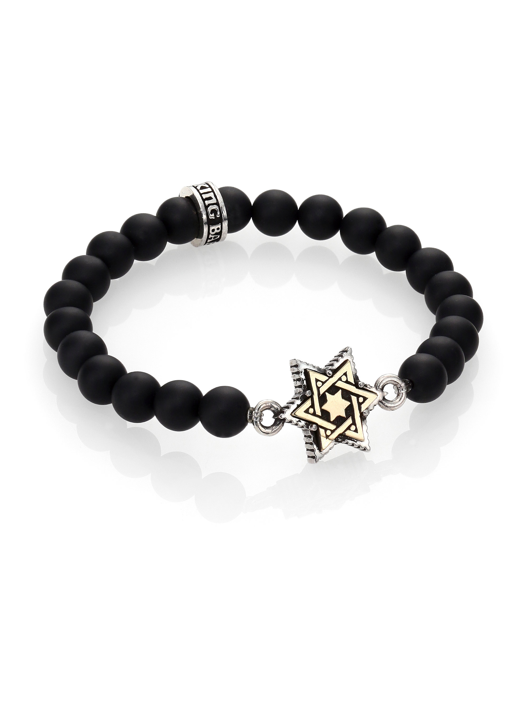 King Baby Studio Star Of David Onyx Beaded Bracelet In