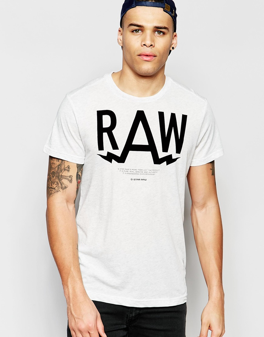 lyst g star raw t shirt marsh crewneck raw print in white heather in white for men. Black Bedroom Furniture Sets. Home Design Ideas