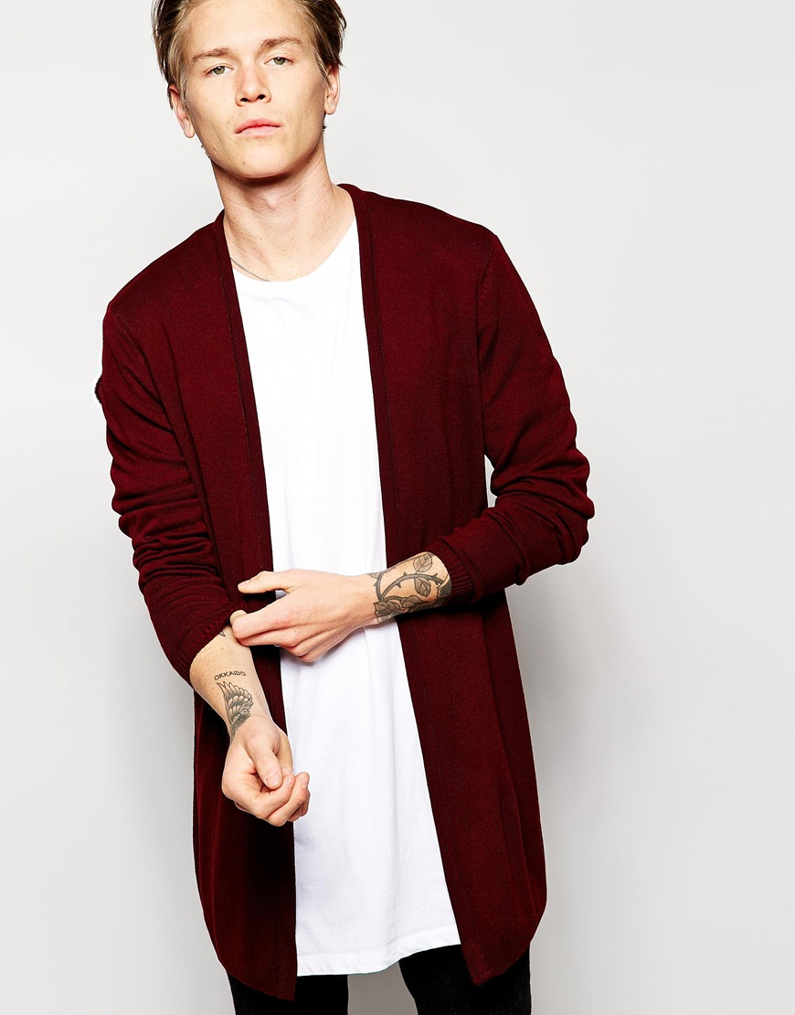 Asos Super Longline Cardigan in Red for Men | Lyst