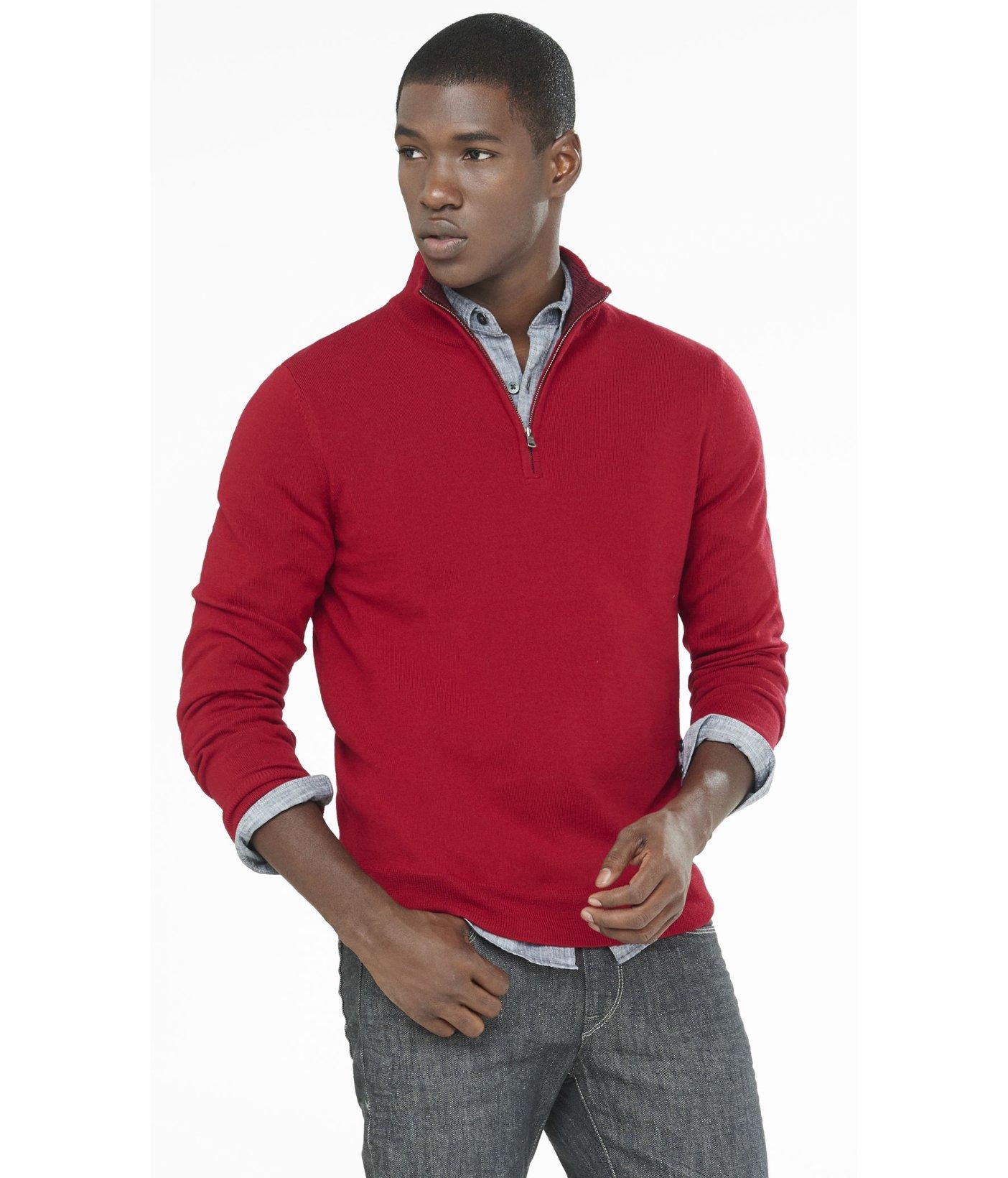 Merino Wool Zip Up Mock Neck Sweater 25