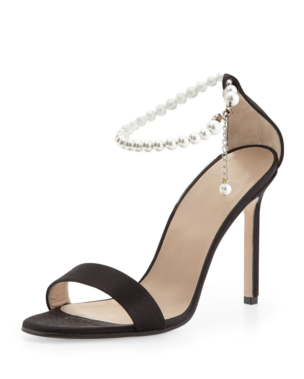 Manolo Blahnik Chaos Pearly Ankle Wrap Sandal Lyst