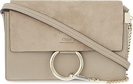 Chlo¨¦ Faye Small Leather Shoulder Bag in Beige (Motty grey) | Lyst