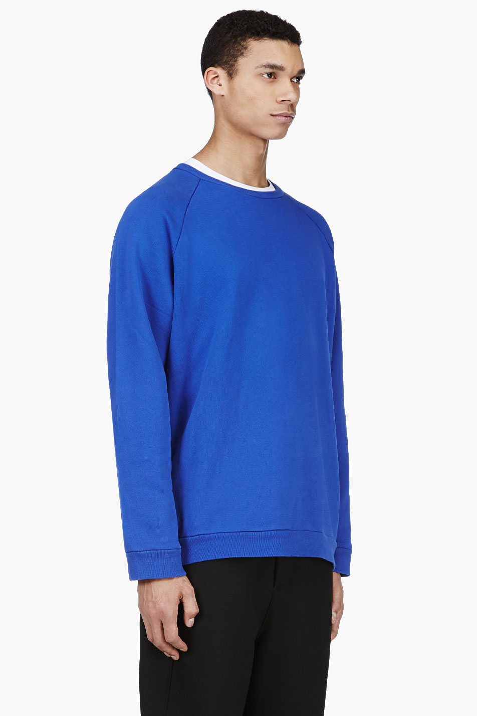 0aeb27eacc Acne Studios Blue Oversized Crewneck Sweater in Blue for Men - Lyst