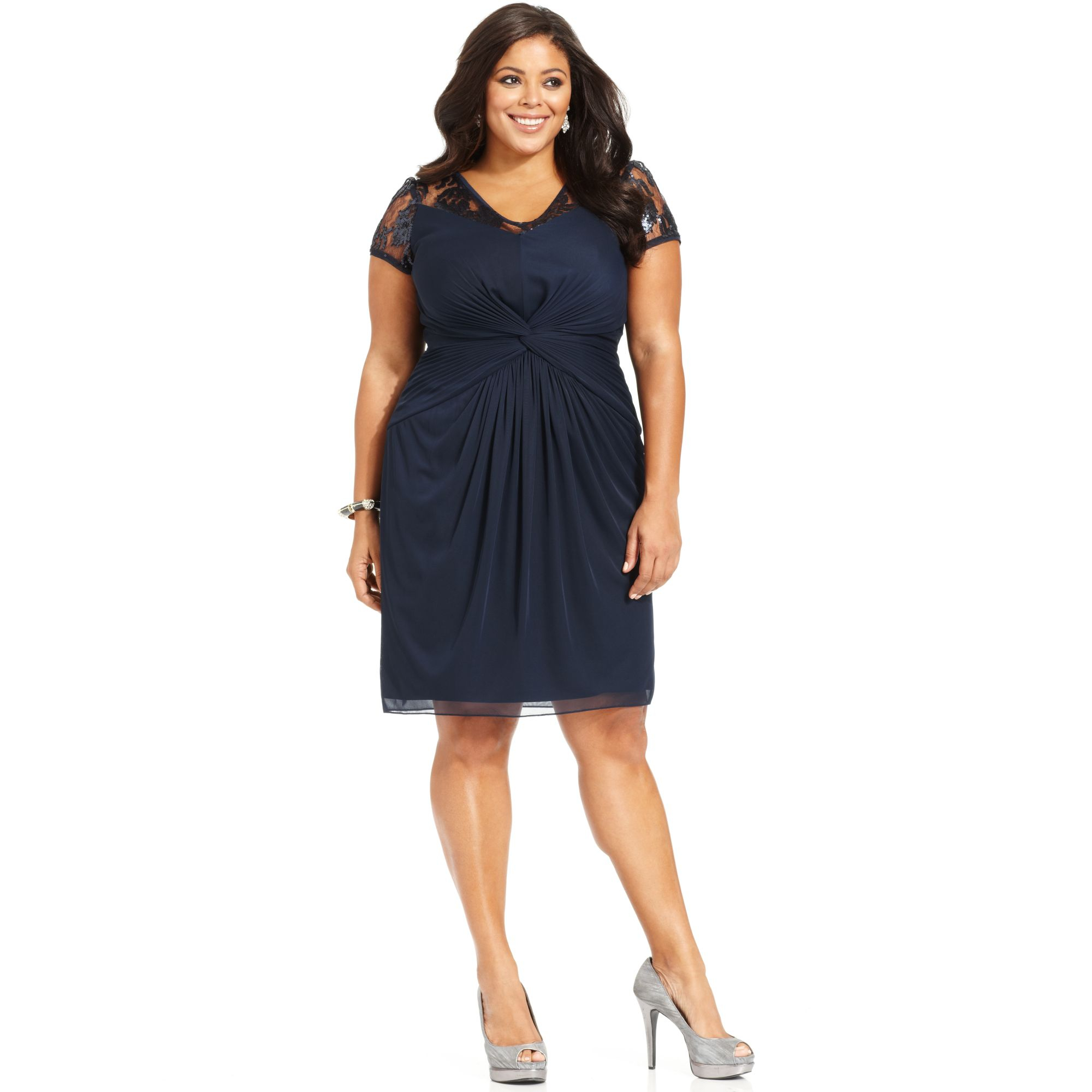 Adrianna Papell Plus Size Illusion Sequin Dress in Blue ...
