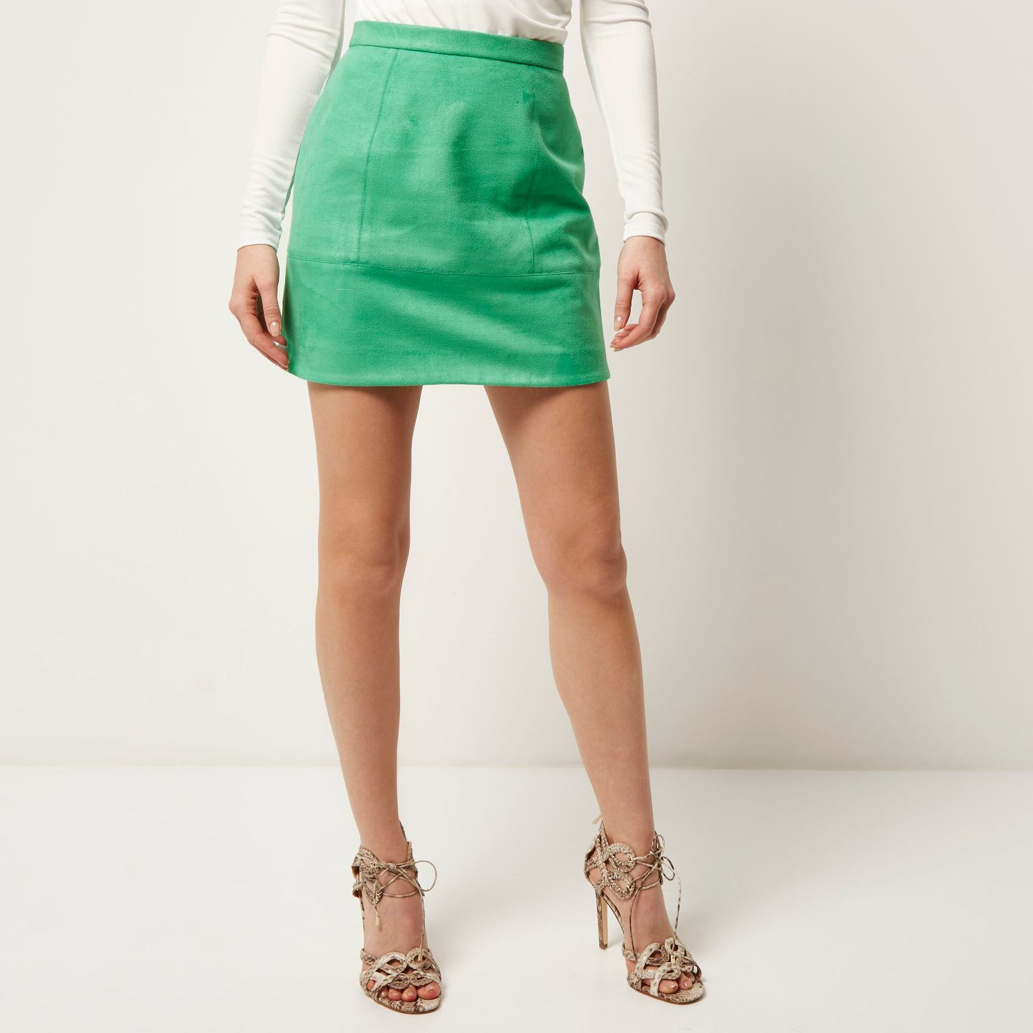 River island Green Faux Suede A-line Skirt in Green | Lyst