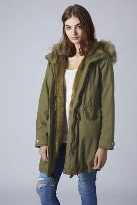 Topshop Faux Fur Trimmed Parka Jacket in Green | Lyst