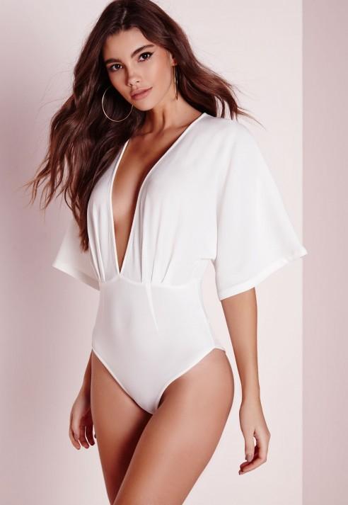 19ce71728 Missguided Kimono Sleeve Bodysuit White in White - Lyst
