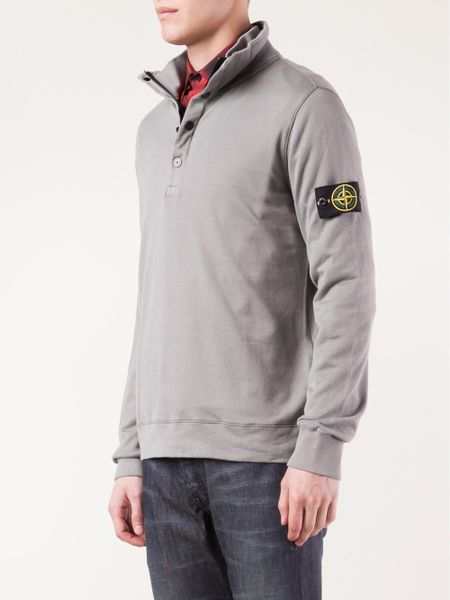 stone island pullover sweater in gray for men grey lyst. Black Bedroom Furniture Sets. Home Design Ideas