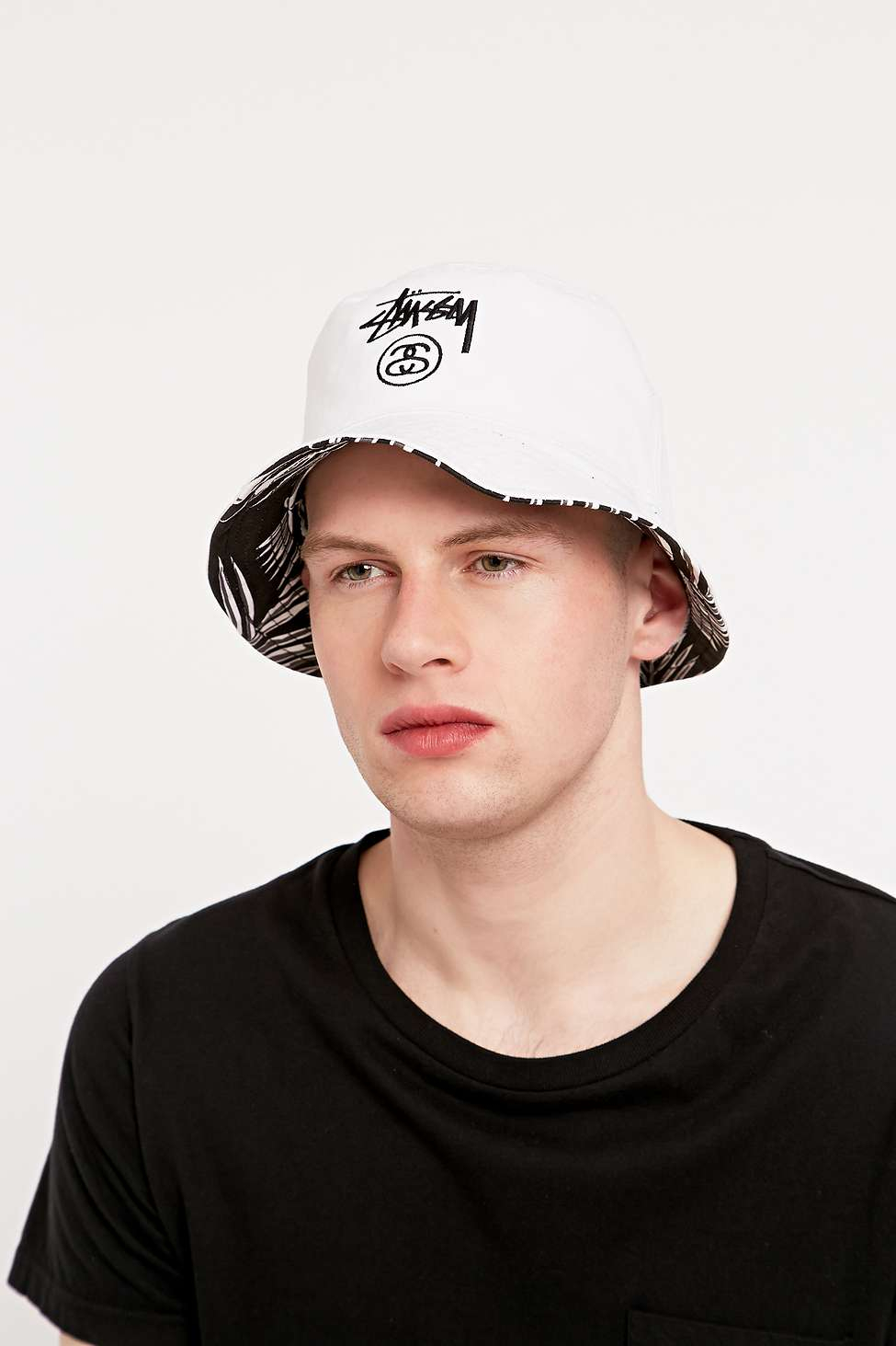 Stussy Reversible Palm Bucket Hat In Black And White in Black for ... 46f9036cd0e