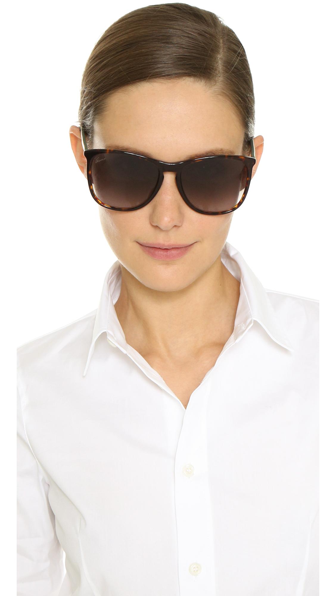 Lyst Gucci Thin Frame Sunglasses Havana Red Green