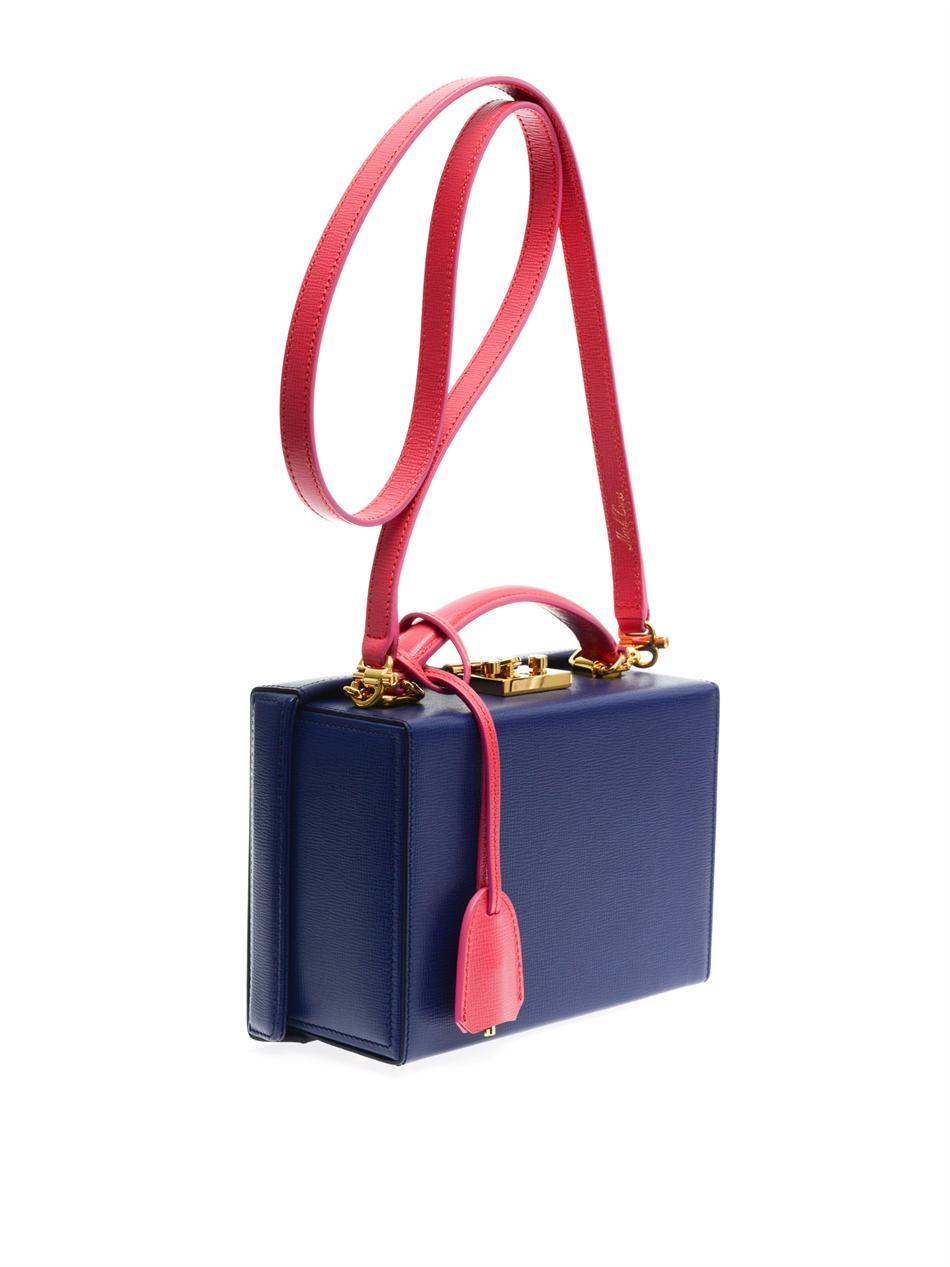 cfb0579cfeef Mark Cross Grace Leather Box Bag in Blue