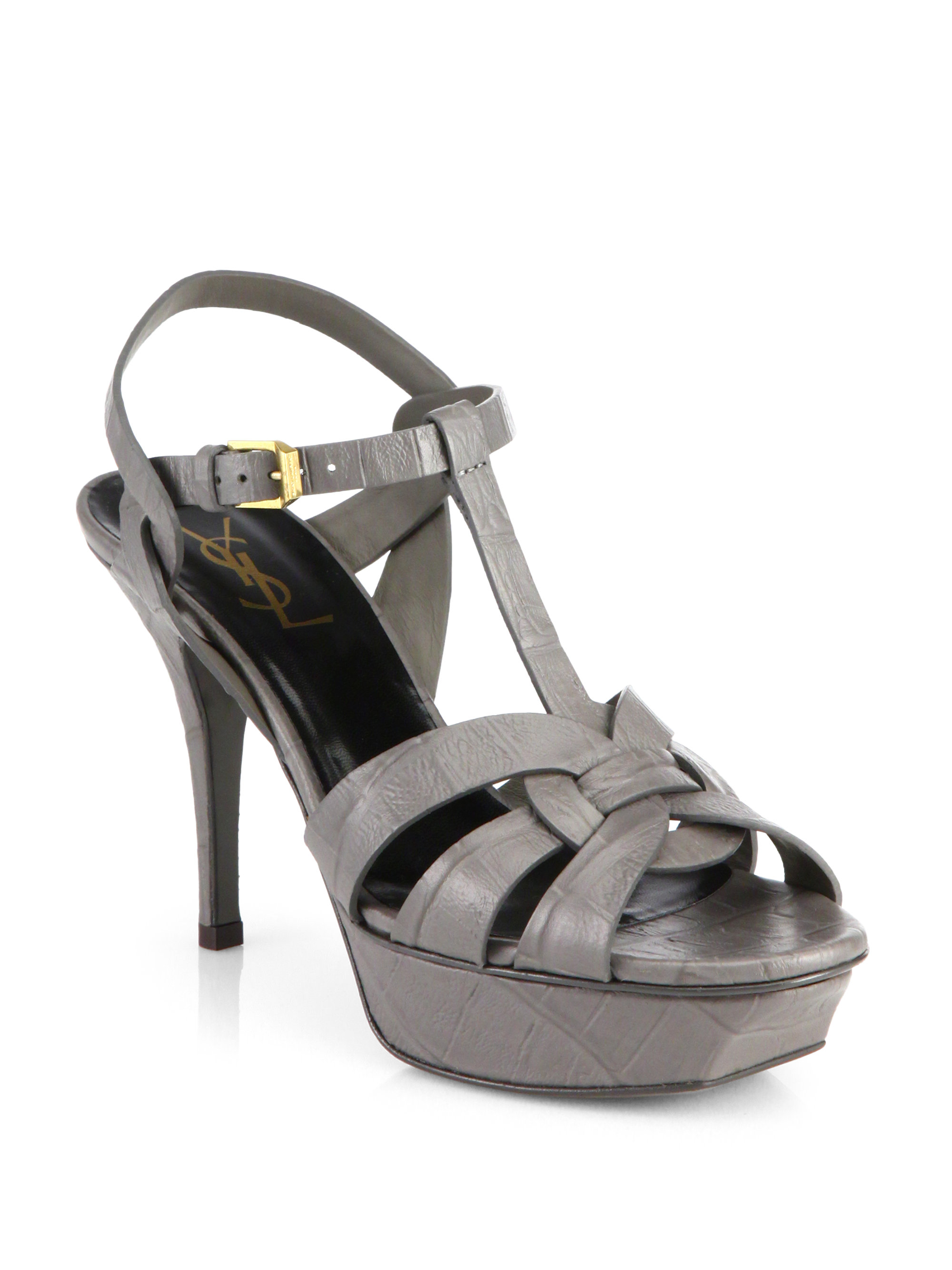 Saint Laurent Embossed Leather Platform Sandals free shipping official shipping discount authentic choice cheap online buy cheap online discount cost cuduz