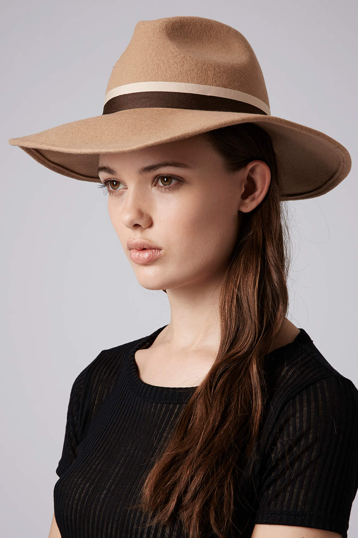 f50561c34b4af TOPSHOP Womens Wide Brim Fedora Hat Camel in Natural - Lyst