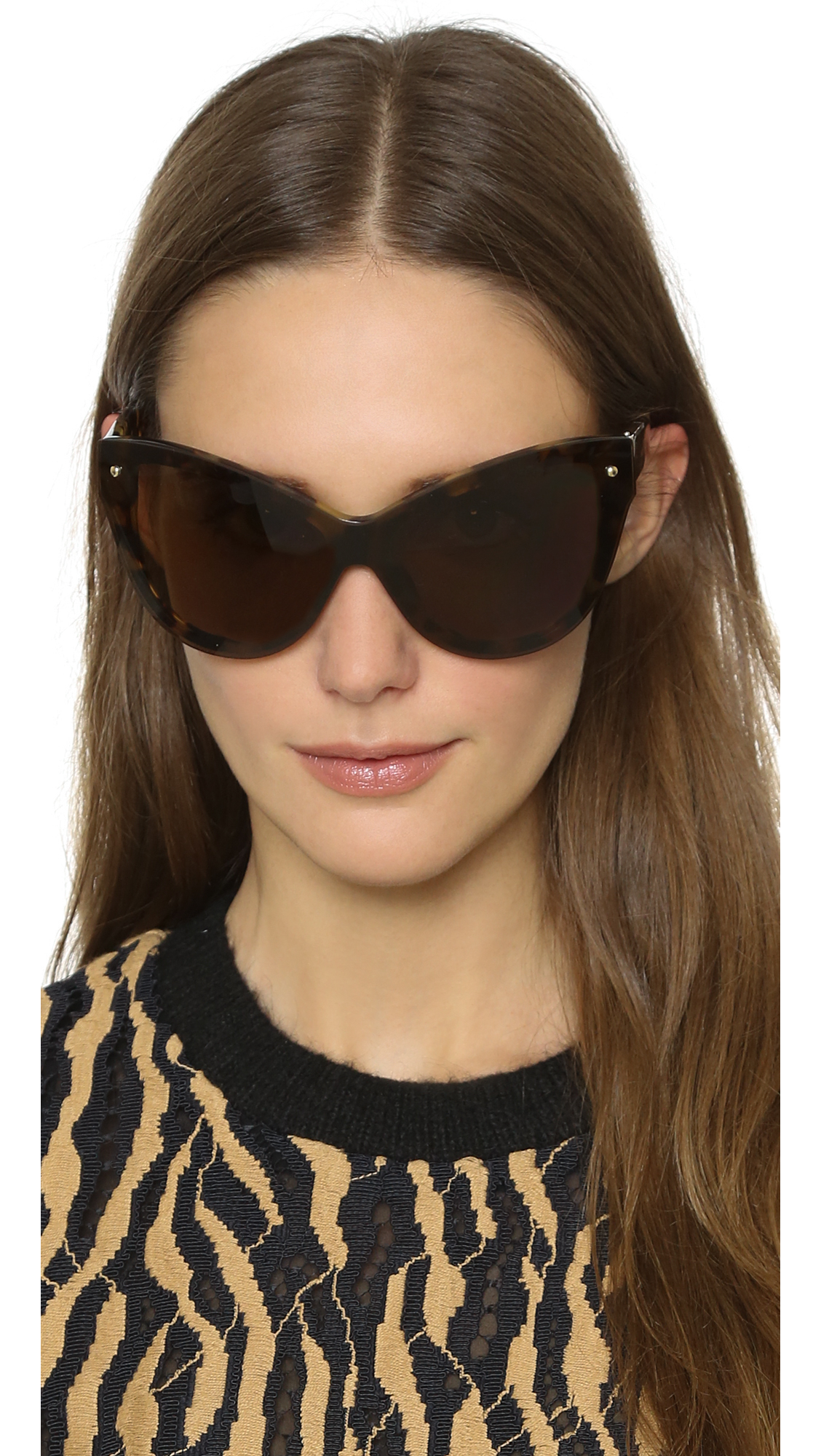 Lyst 3 1 Phillip Lim Cat Eye Sunglasses In Brown