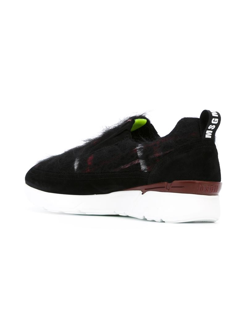 Msgm Checked Faux-Fur Leather and Suede Sneakers in Black ...