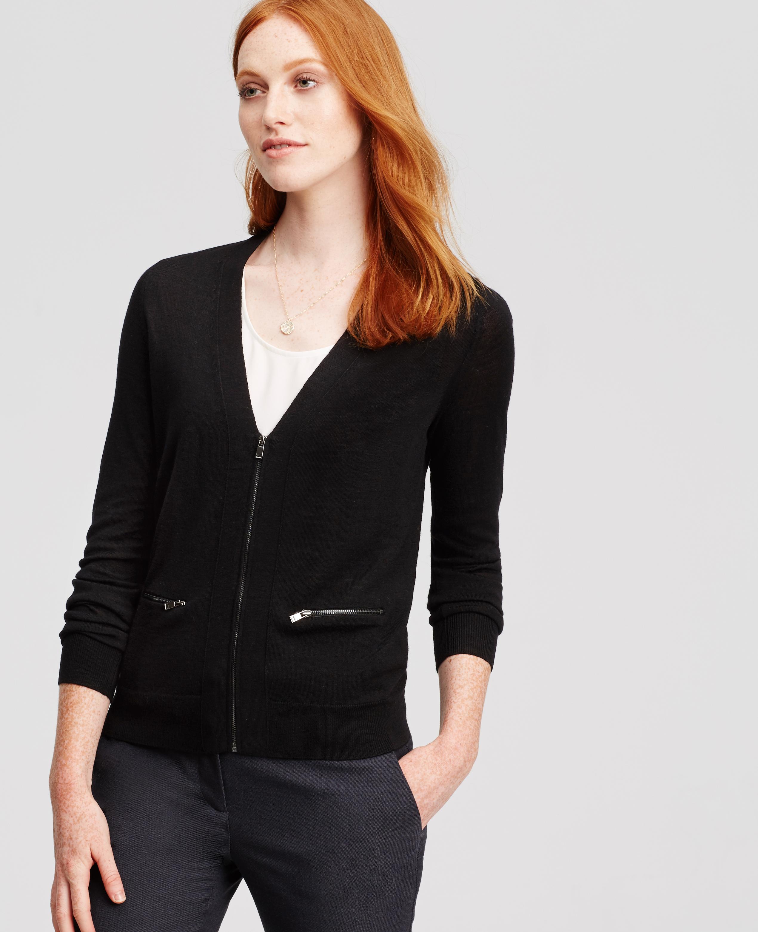 Ann taylor Petite Merino Wool Zip Cardigan in Black | Lyst