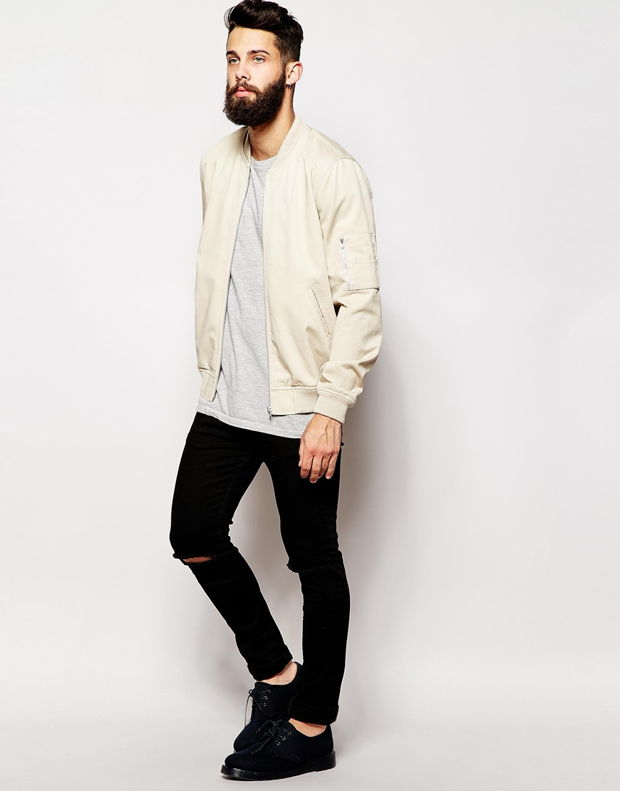 Asos Bomber Jacket In Stone in Natural for Men | Lyst
