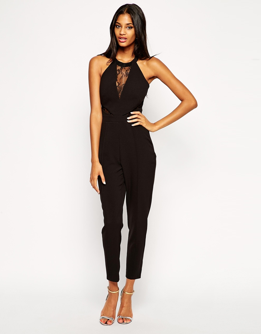 e4770ae4e8b9 Lyst - Lipsy Michelle Keegan Loves Jumpsuit With Lace Halterneck in ...