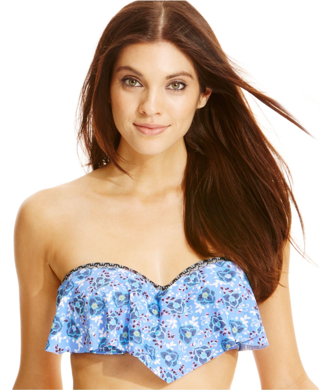 7e4b2c11ef Lyst - Blush By Profile Printed D-Cup Flounce Bikini Top
