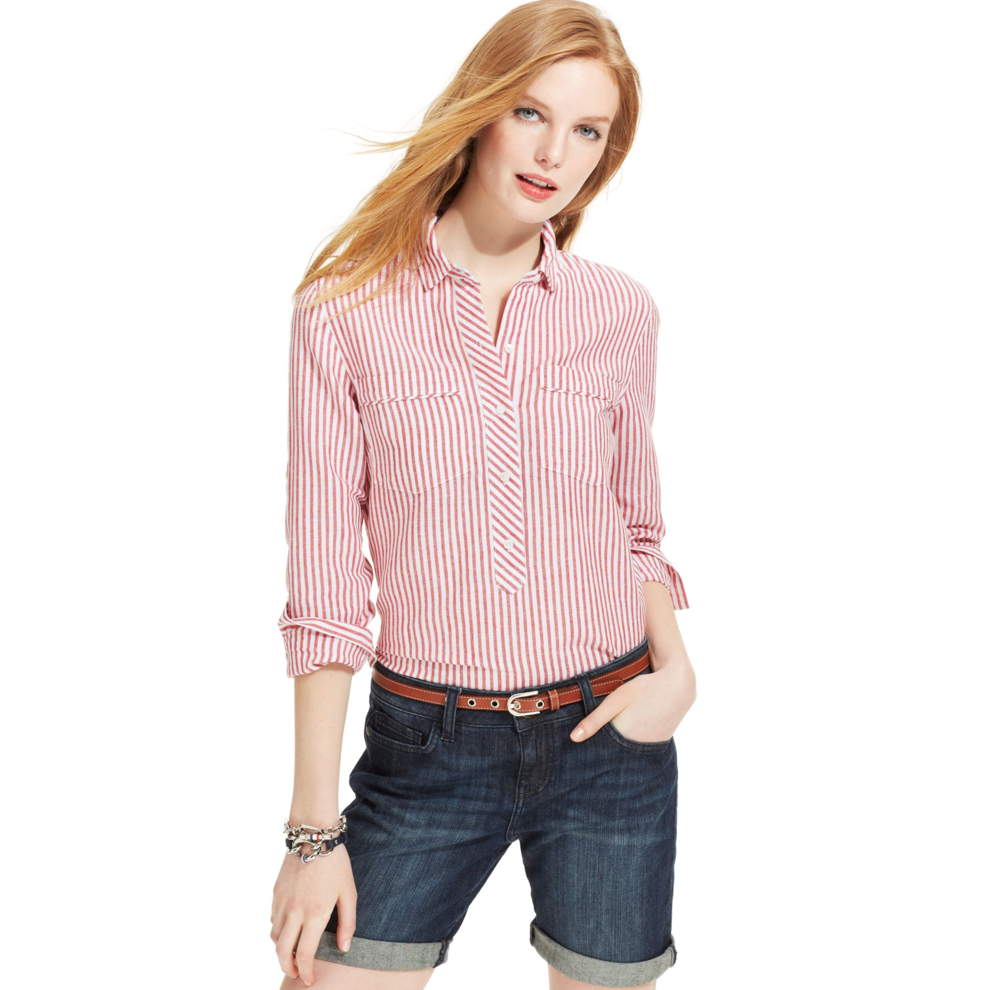 ff9787c1a Tommy Hilfiger Longsleeve Striped Linen Shirt in Red - Lyst