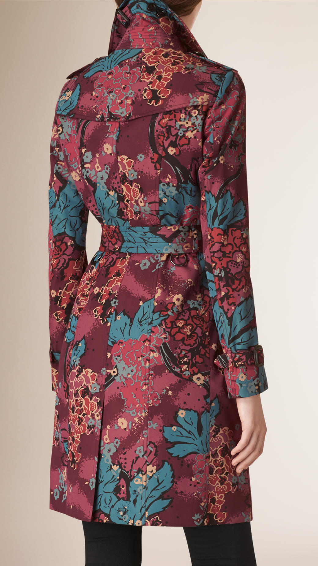 Lyst Burberry Floral Cotton Gabardine Trench Coat In Green