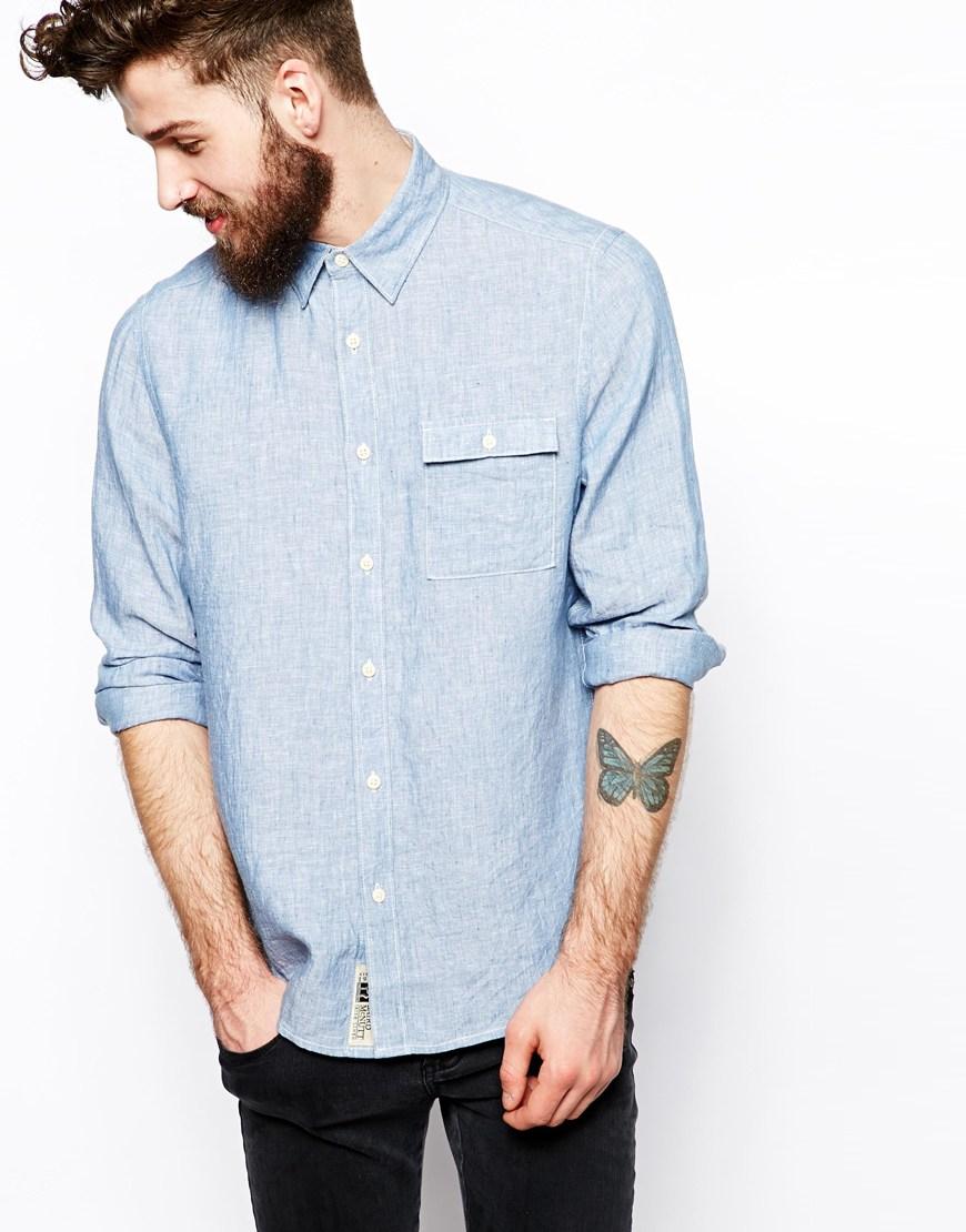 Asos irish linen shirt in long sleeve in blue for men lyst for Irish linen dress shirts