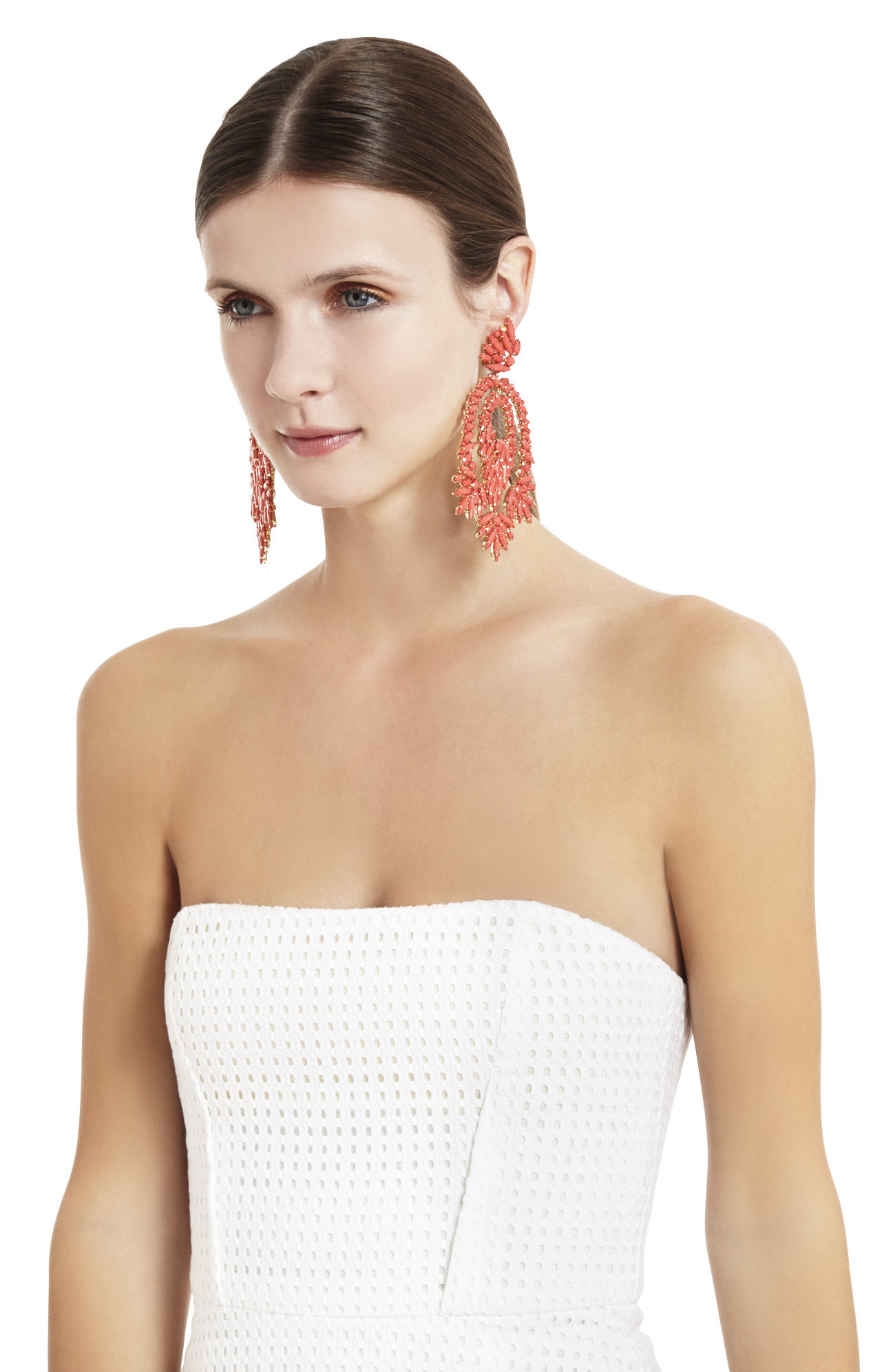 Lyst bcbgmaxazria oversized rhinestone cocktail earrings in pink gallery arubaitofo Image collections