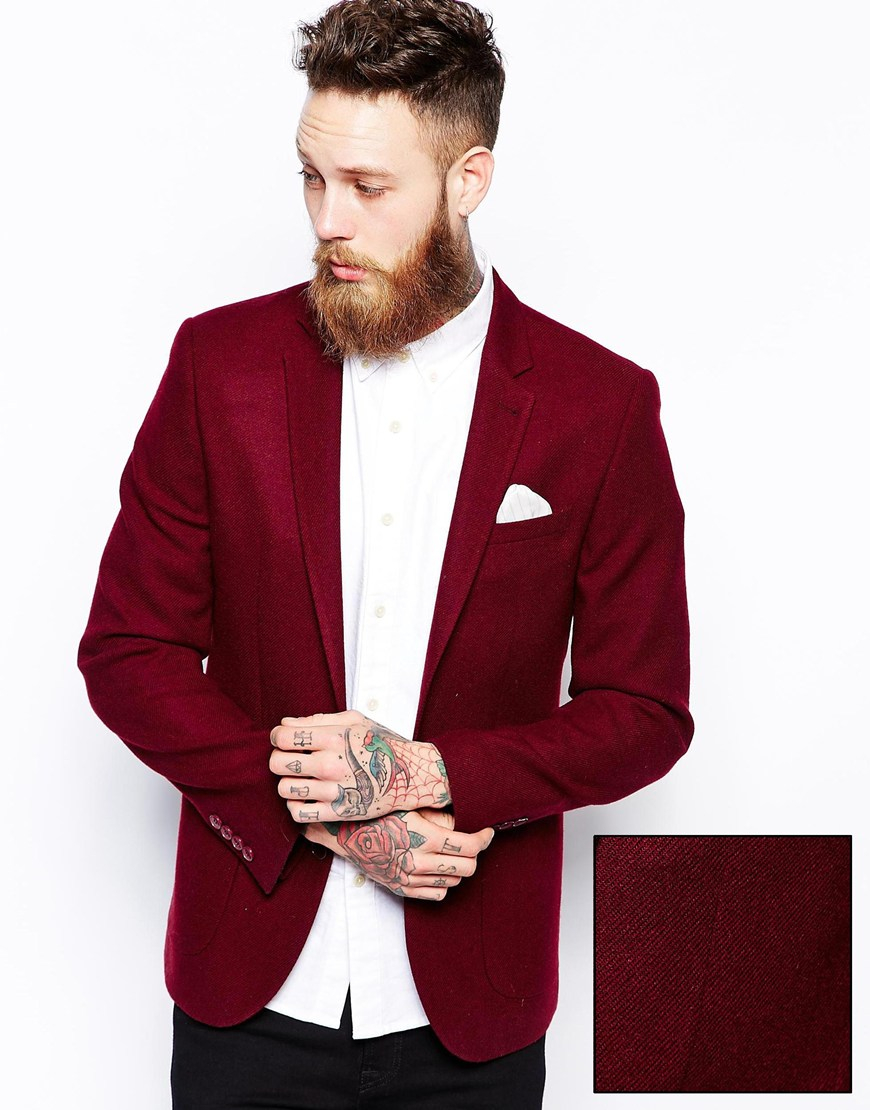Collection Burgundy Blazer Men Pictures - Reikian