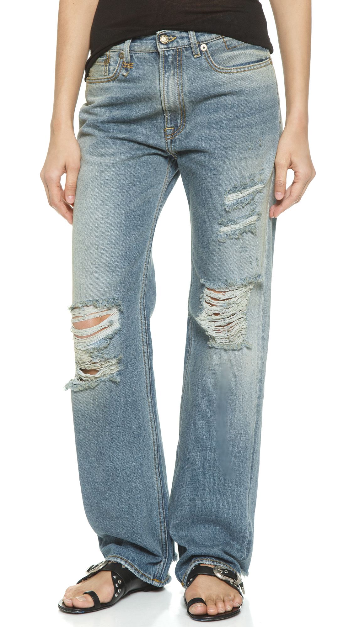 R13 The Kurt Slouch Shredded Jeans - Nirvana Shredded in Blue | Lyst