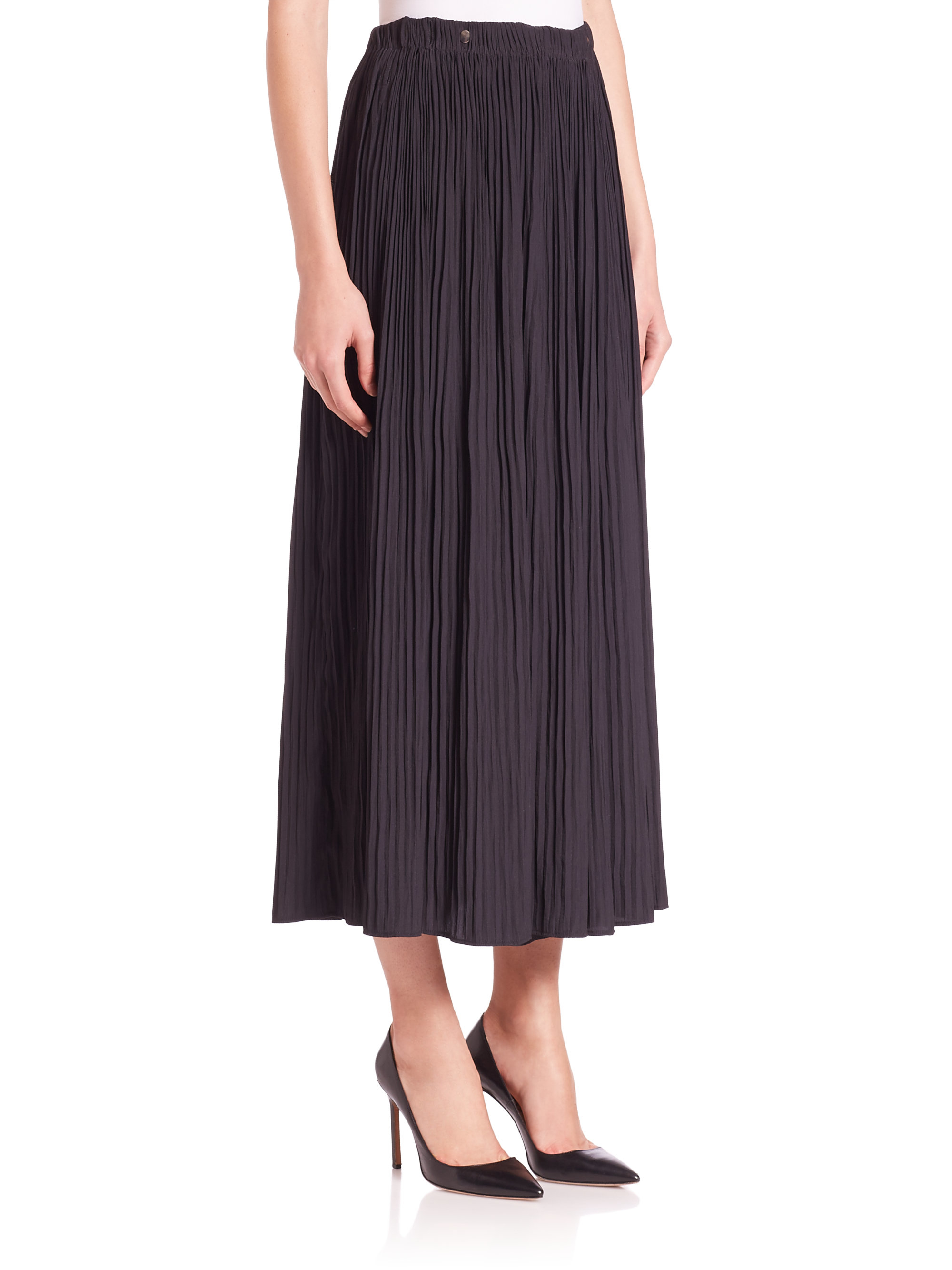 the kooples pleated maxi skirt in black lyst