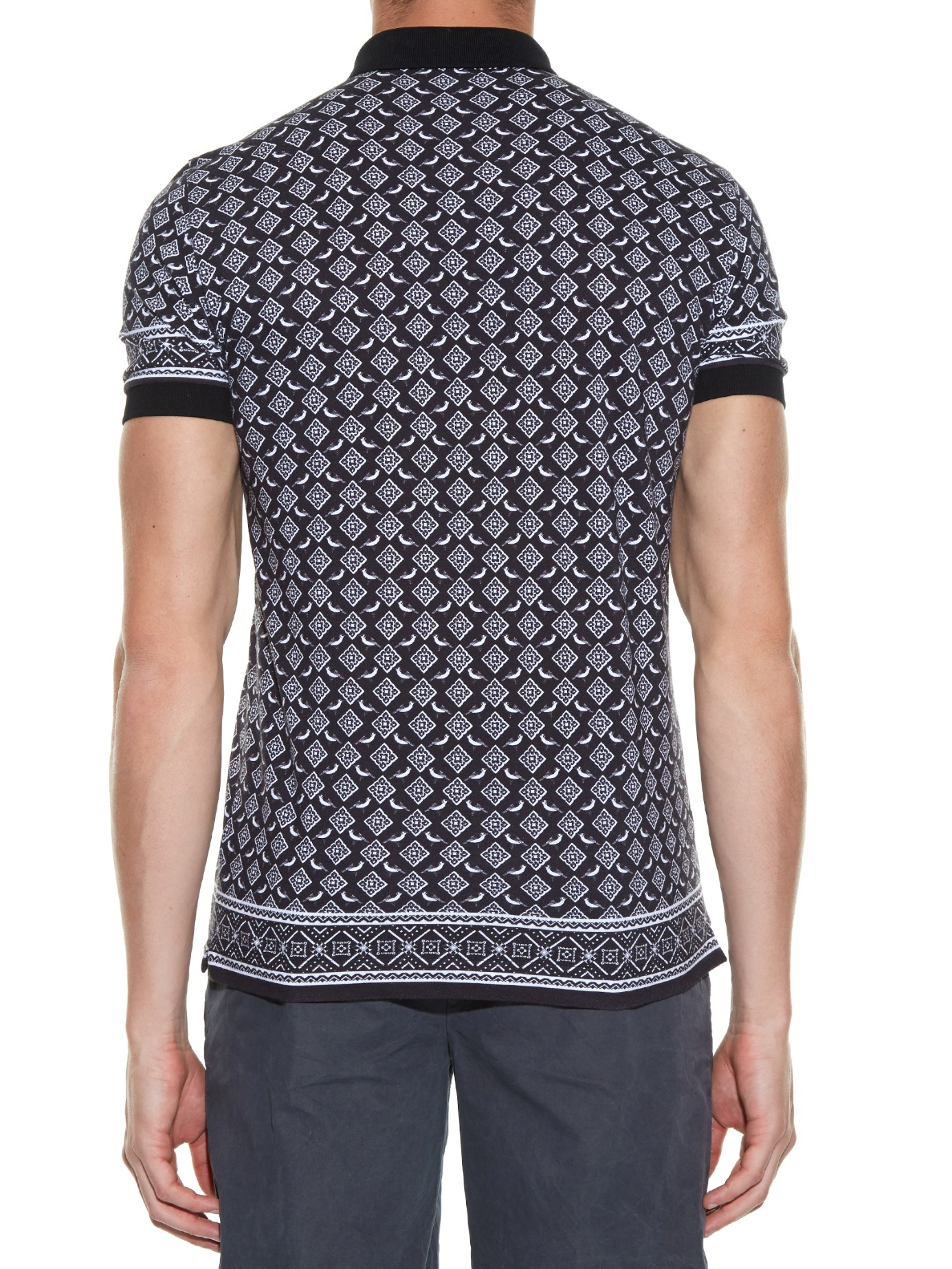 Lyst dolce gabbana bird print cotton piqu polo shirt for Black cotton polo shirt