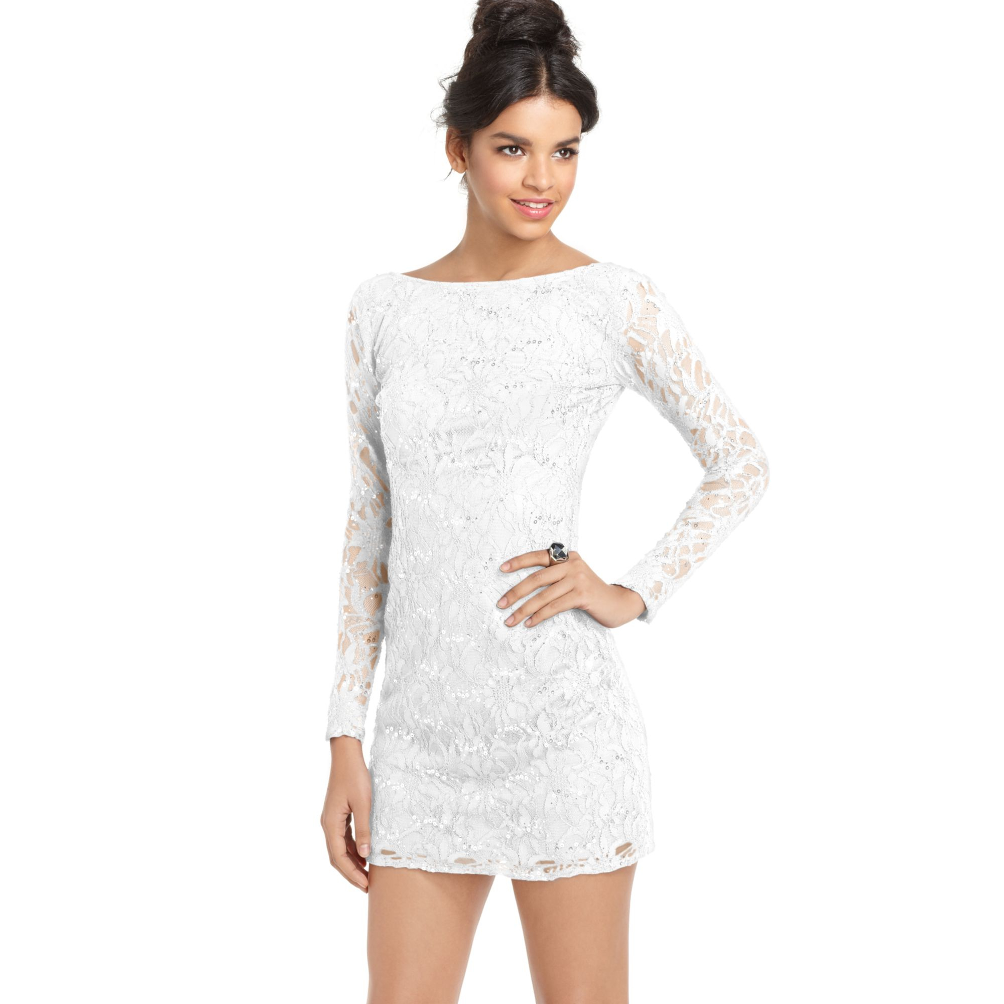 Jump Juniors Lace Sequin Mini Dress in White | Lyst