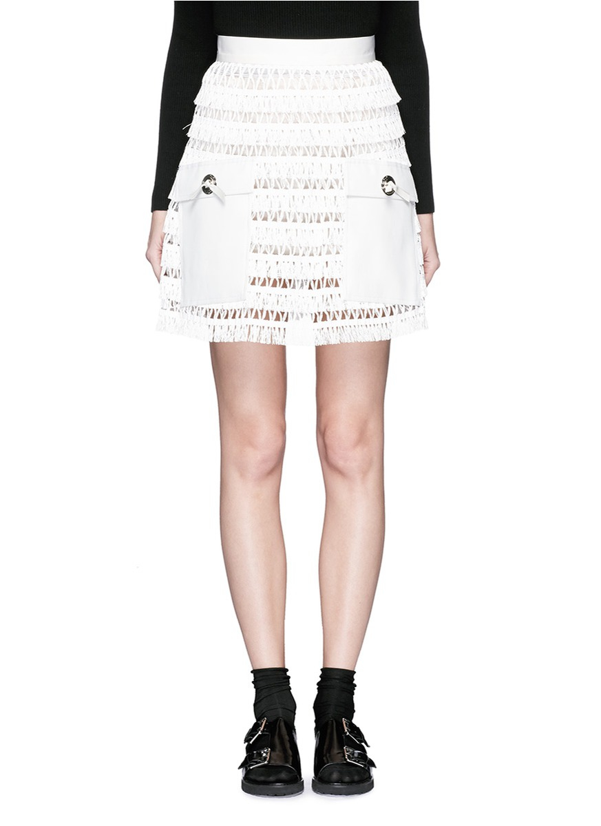 toga faux leather pocket linen fringe mini skirt in white