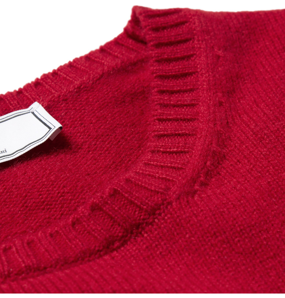 Ami Crew Neck Wool Sweater in Red for Men | Lyst