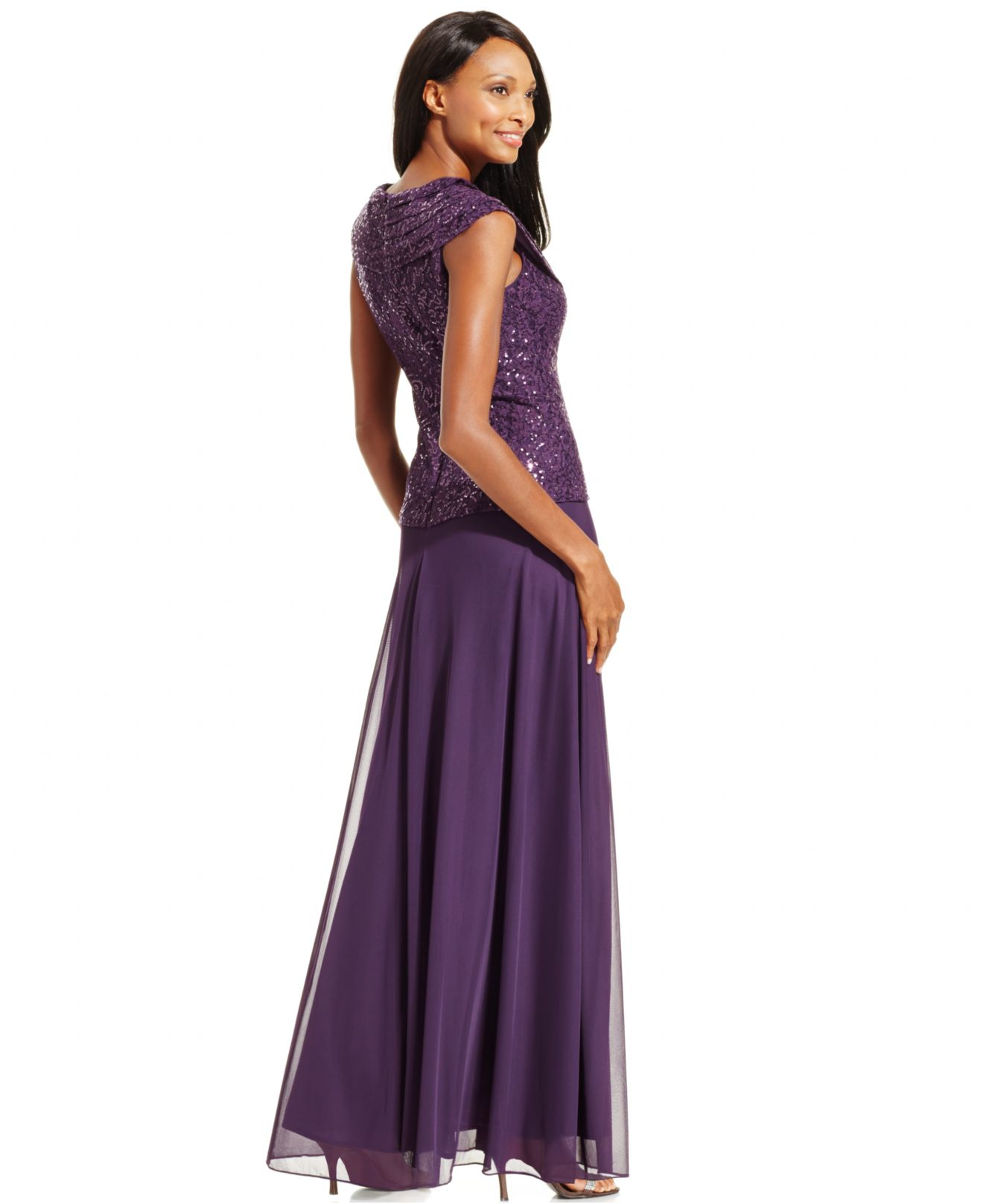 Lyst Patra Sequin Embellished Gown In Purple