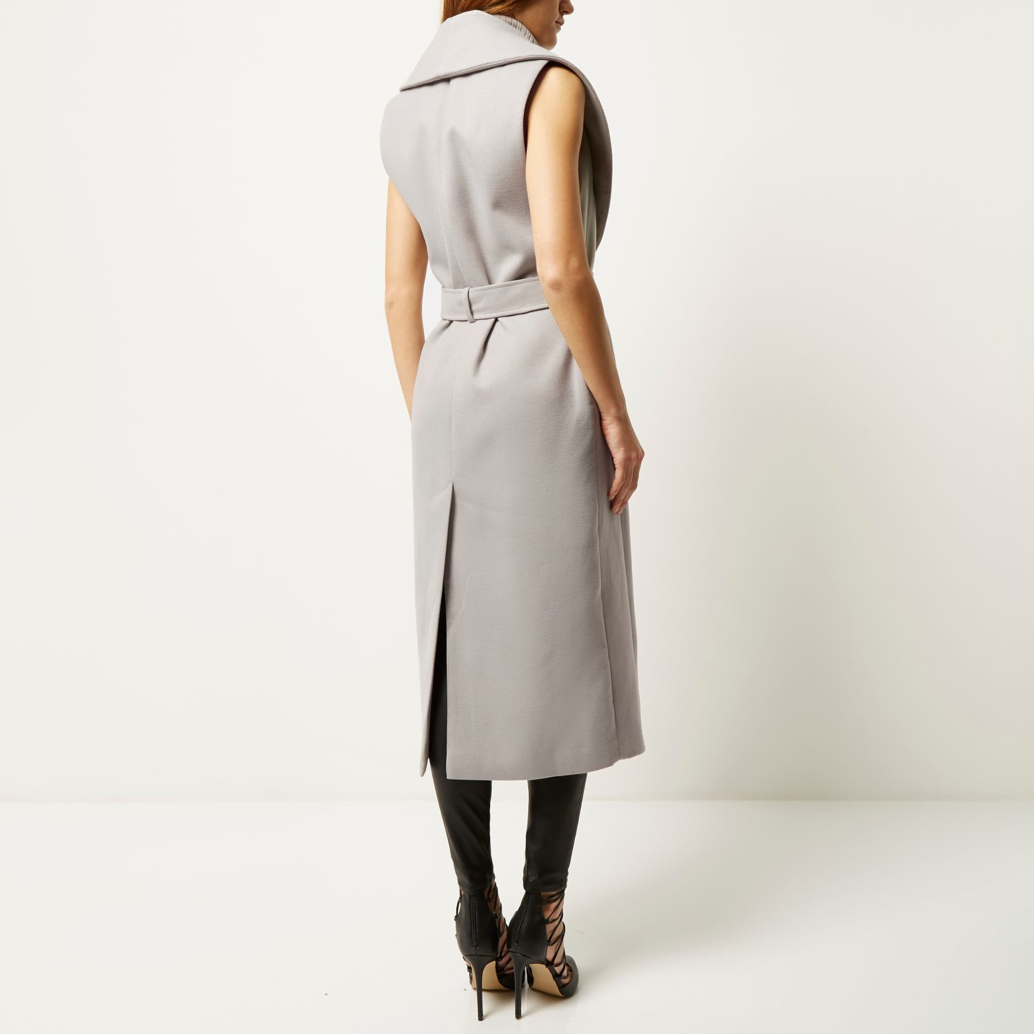 a6a0d8ab0830e River Island Grey Sleeveless Belted Robe Coat in Gray - Lyst