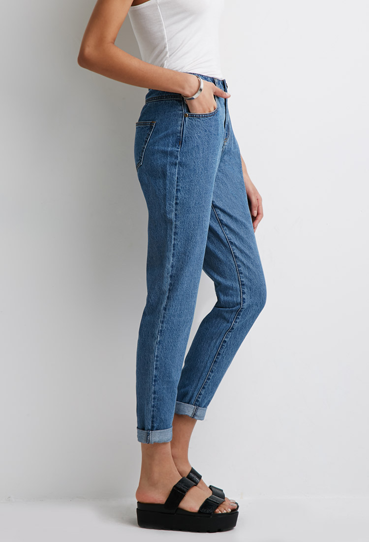 forever 21 high rise mom jeans in blue lyst. Black Bedroom Furniture Sets. Home Design Ideas