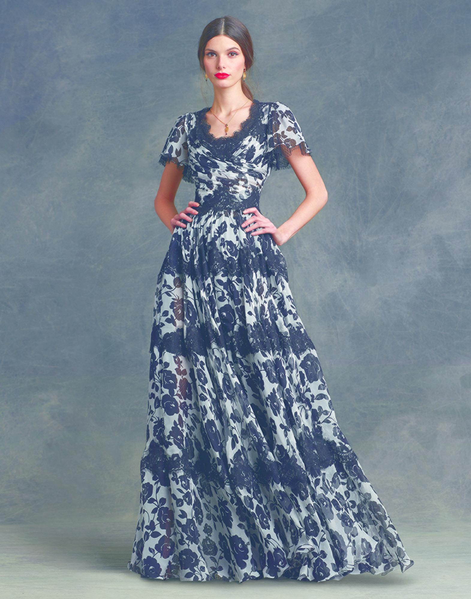 Chiffon Lace With Gabbana In Long Dolce Printed Lyst Dress amp; xgZaqz6n0w