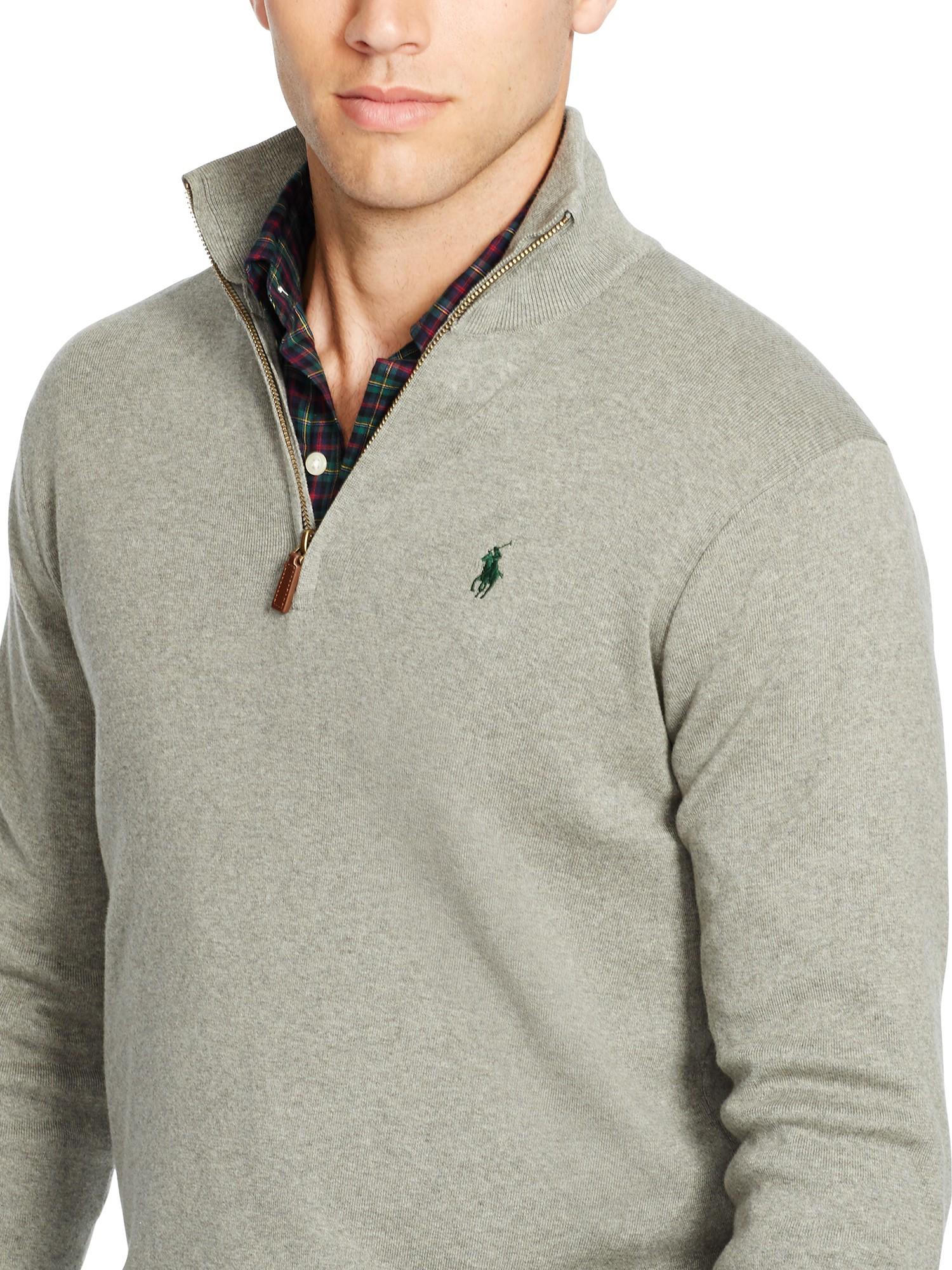 015fe81fae50 Polo Ralph Lauren Half Zip Mockneck Jumper in Gray for Men - Lyst