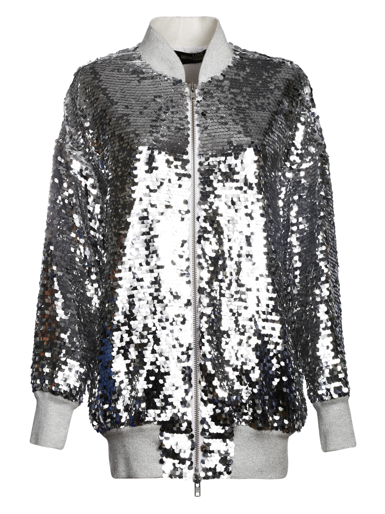 Love moschino Sequin Zipped Jacket in Silver | Lyst